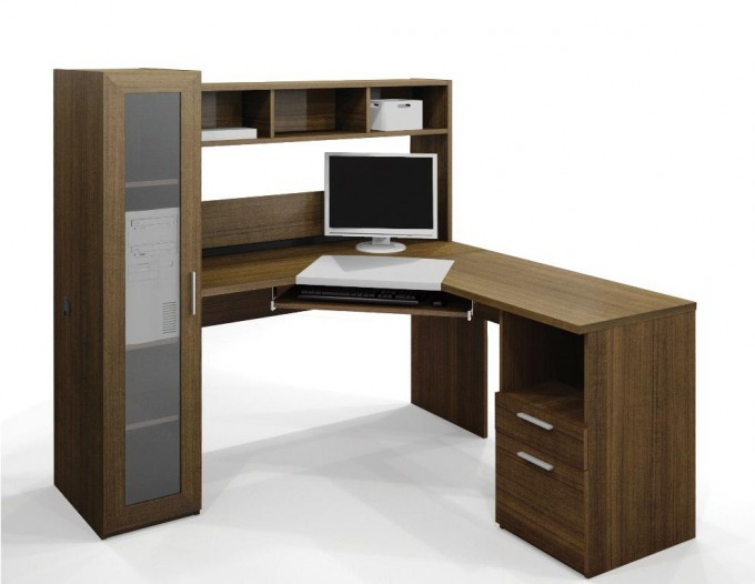 Best Wooden L Shaped Desk With Hutch Plus Mini Cupboard And Computer Set For Home Office Furniture Ideas