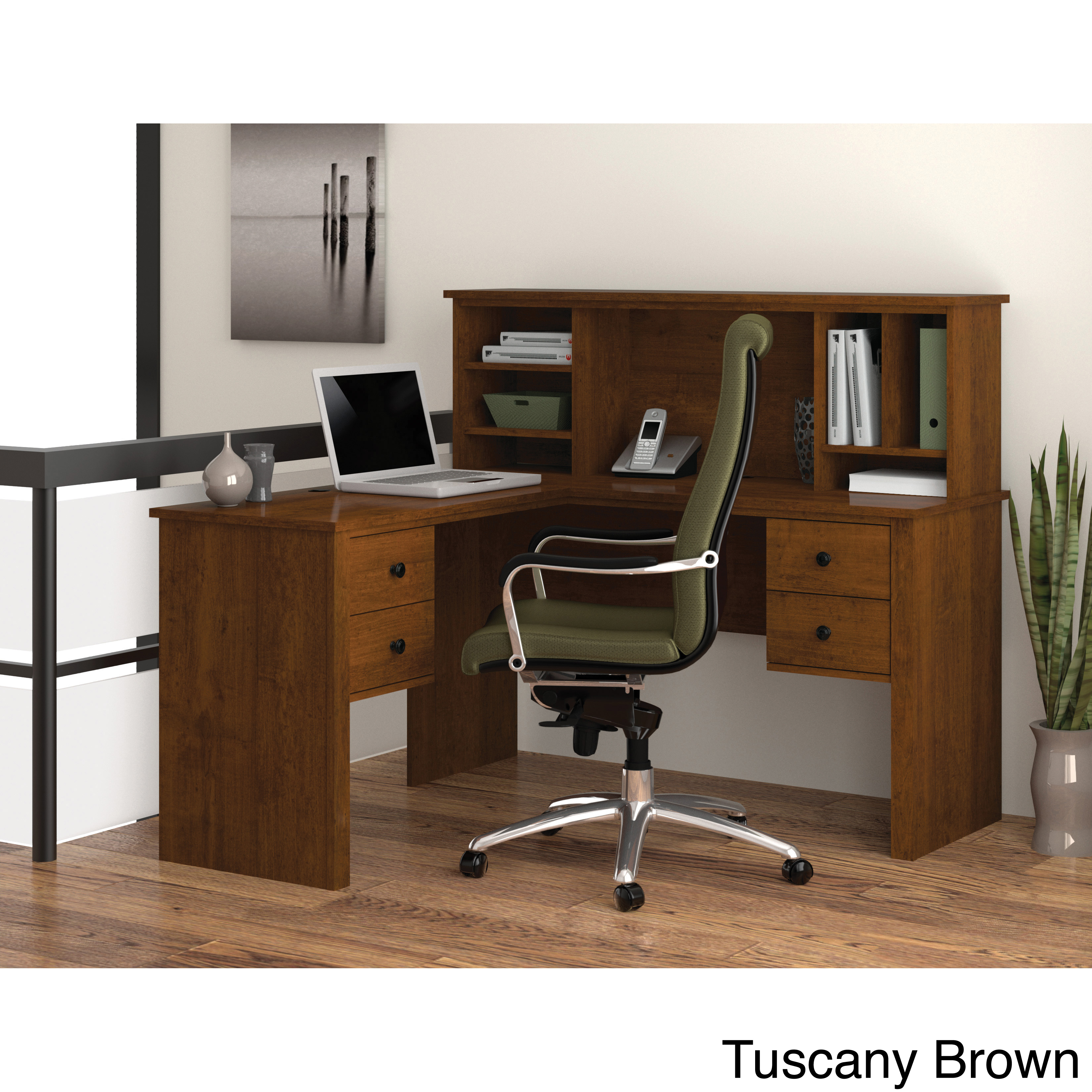 Bestar Connexion Brown Laminate L shaped desk with Hutch and drawer plus computer stand plus armchair for home office furniture ideas