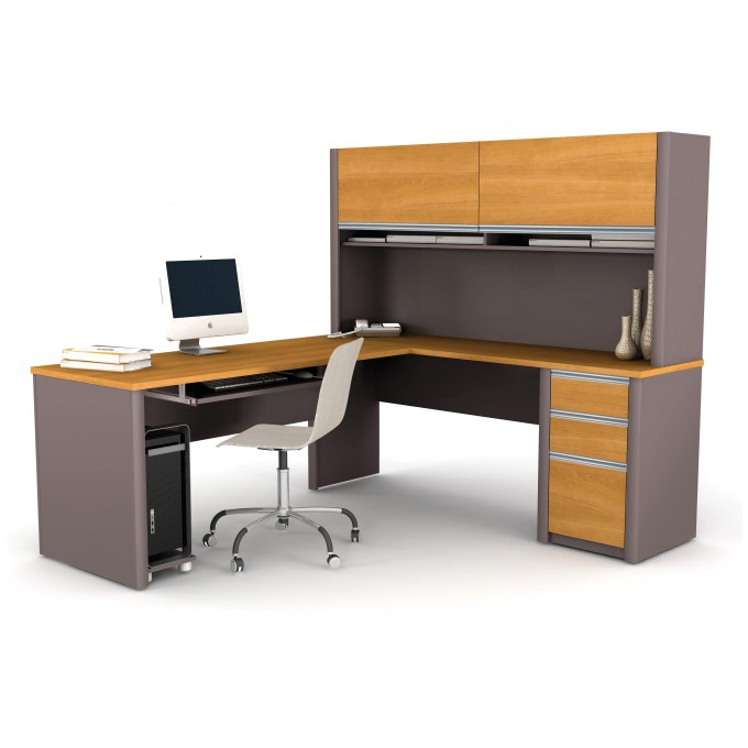Bestar Connexion L Shaped Desk With Hutch In Gray And Brown Color Plus Storage And Computer Set For Home Office Furniture Inspiration