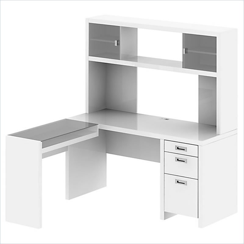 Bestar Connexion L shaped Desk with Hutch in white and gray theme with drawer and computer or laptop stand plus chair for home office furniture ideas