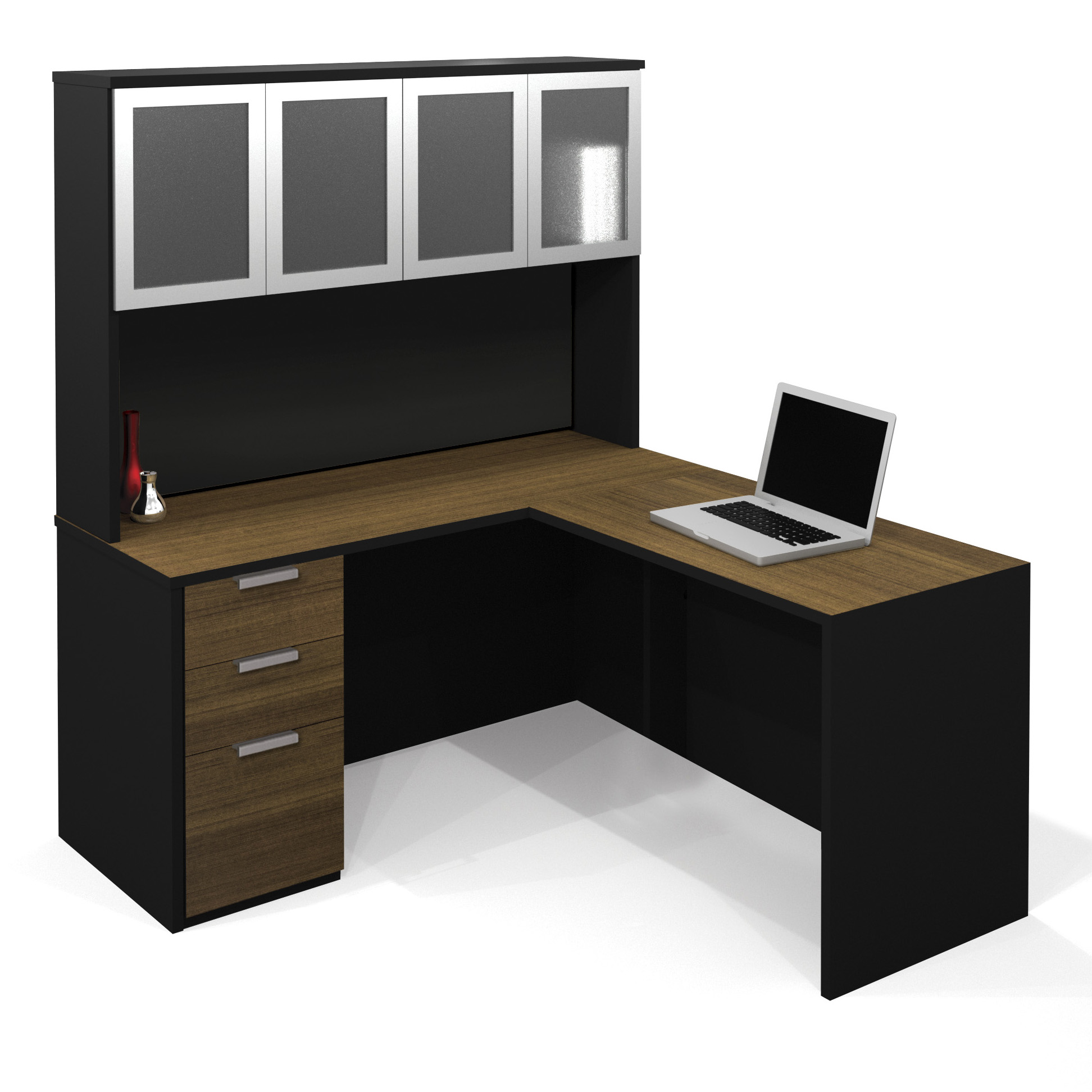 Bestar Pro Concept L Shaped Desk with Hutch and storage plus laptop for home office furniture ideas