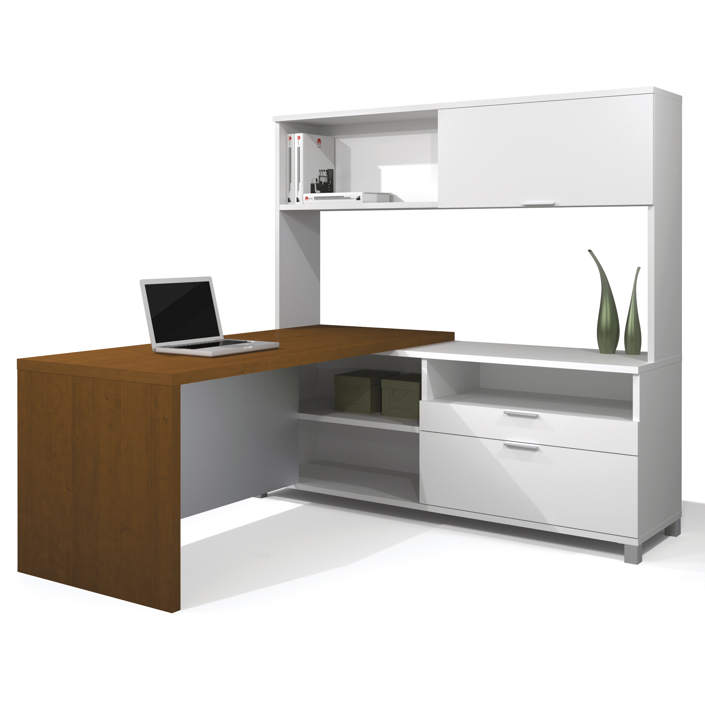 Bestar Pro Linea L shaped Desk with Hutch