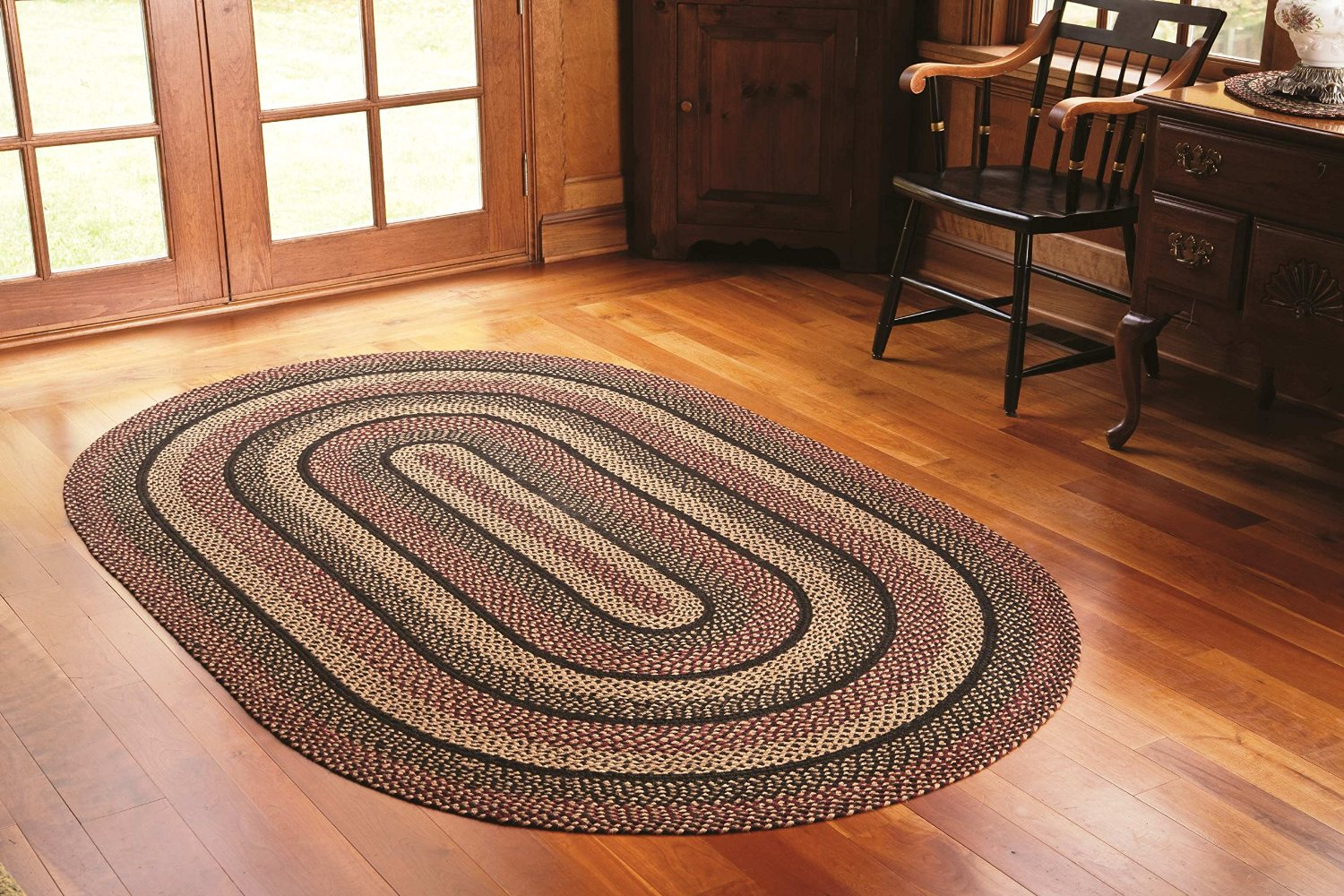 big oval braided rugs in multicolor on wooden floor for floor decor ideas