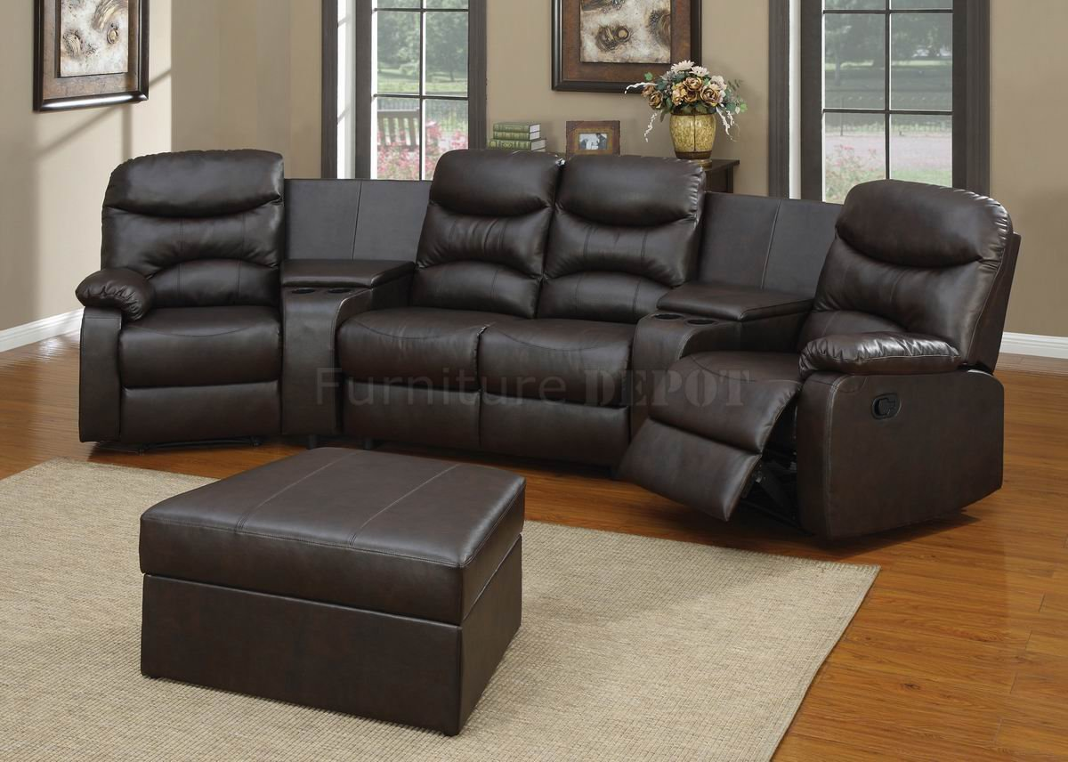 Black Bonded Leather Match Modern Home Theater Sectional Couches on wooden floor plus white carpet for home theater decor ideas