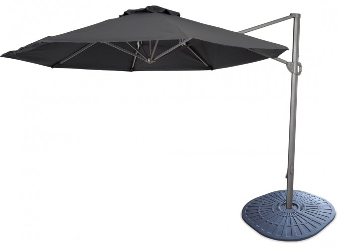 Black Cantilever Umbrella With Metal Stand For Patio Furniture Ideas