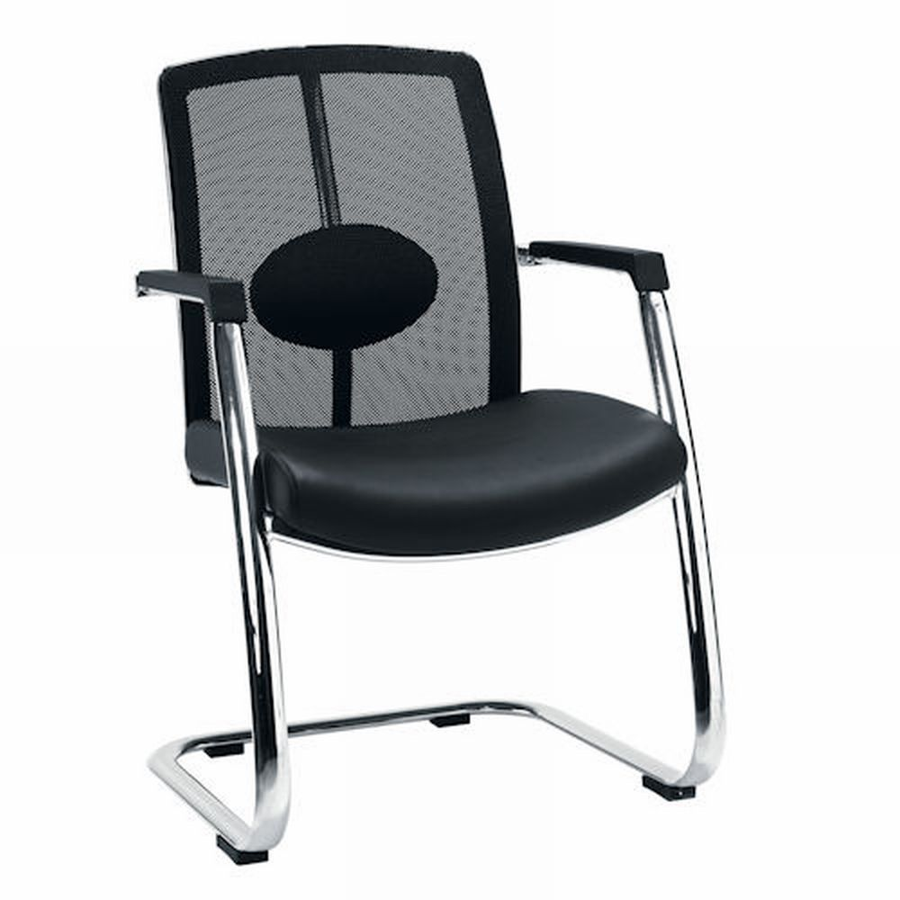 black chair with arm and iron stand by sprintz furniture