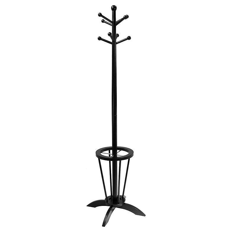 black Floor standing coat rack with integrated umbrella stand
