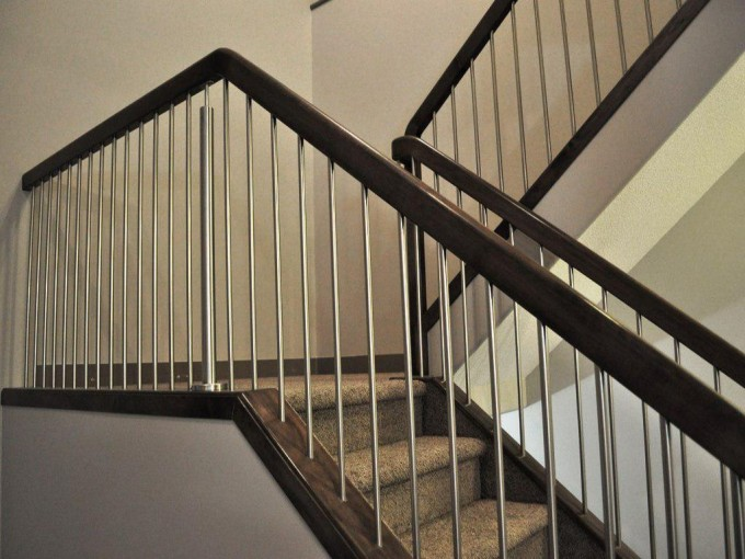 Black Handrails For Stairs With Tan Treads Ideas With White Wall