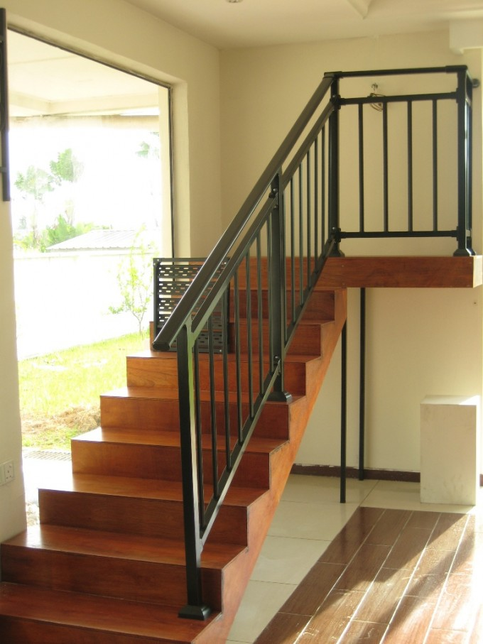 Black Handrails For Stairs With Wooden Treads Ideas Near Door With White Wall