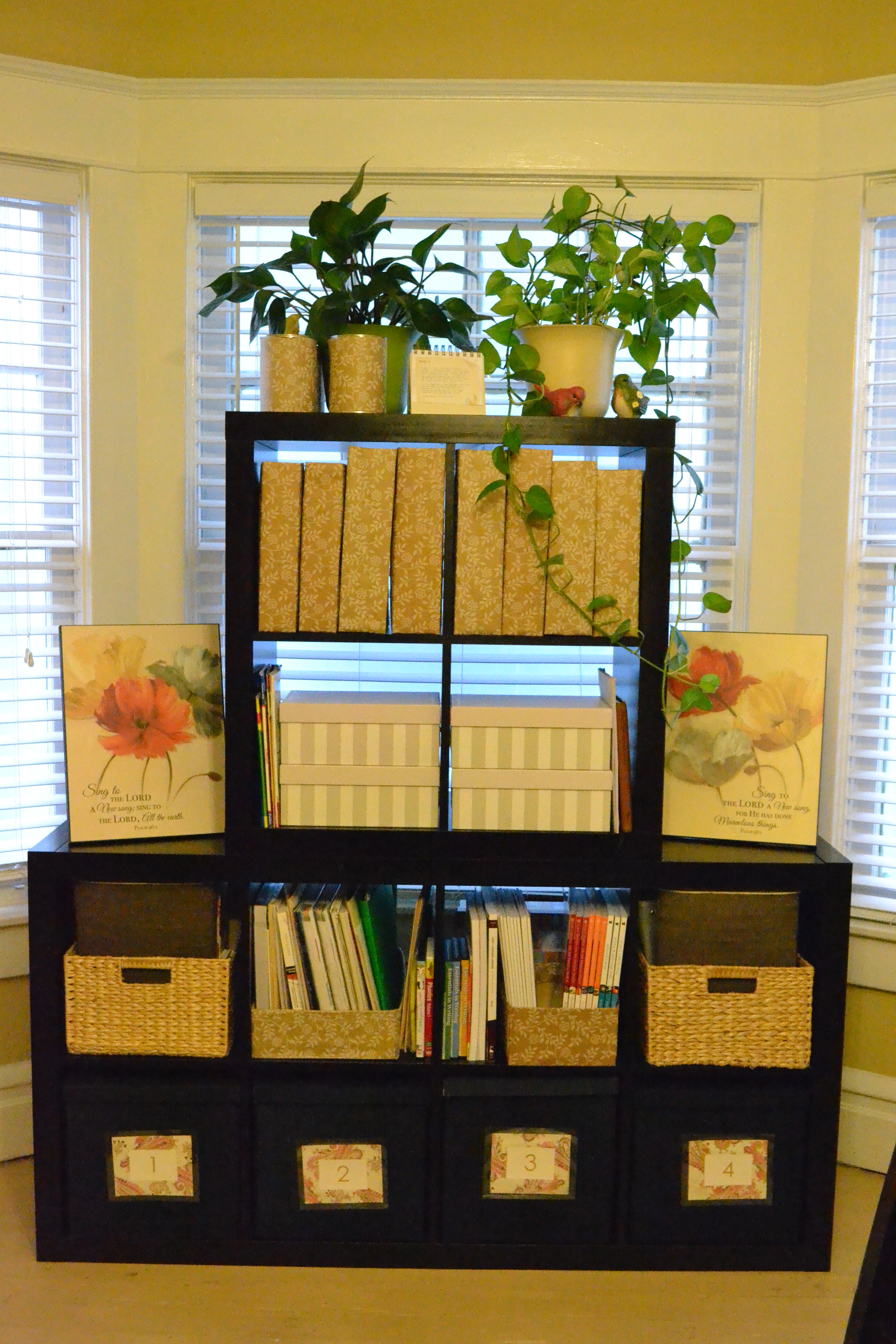 black ikea expedit bookcase with flowers before window and cream wall