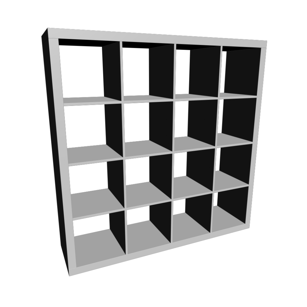 black ikea expedit bookcase with sixteen spaces