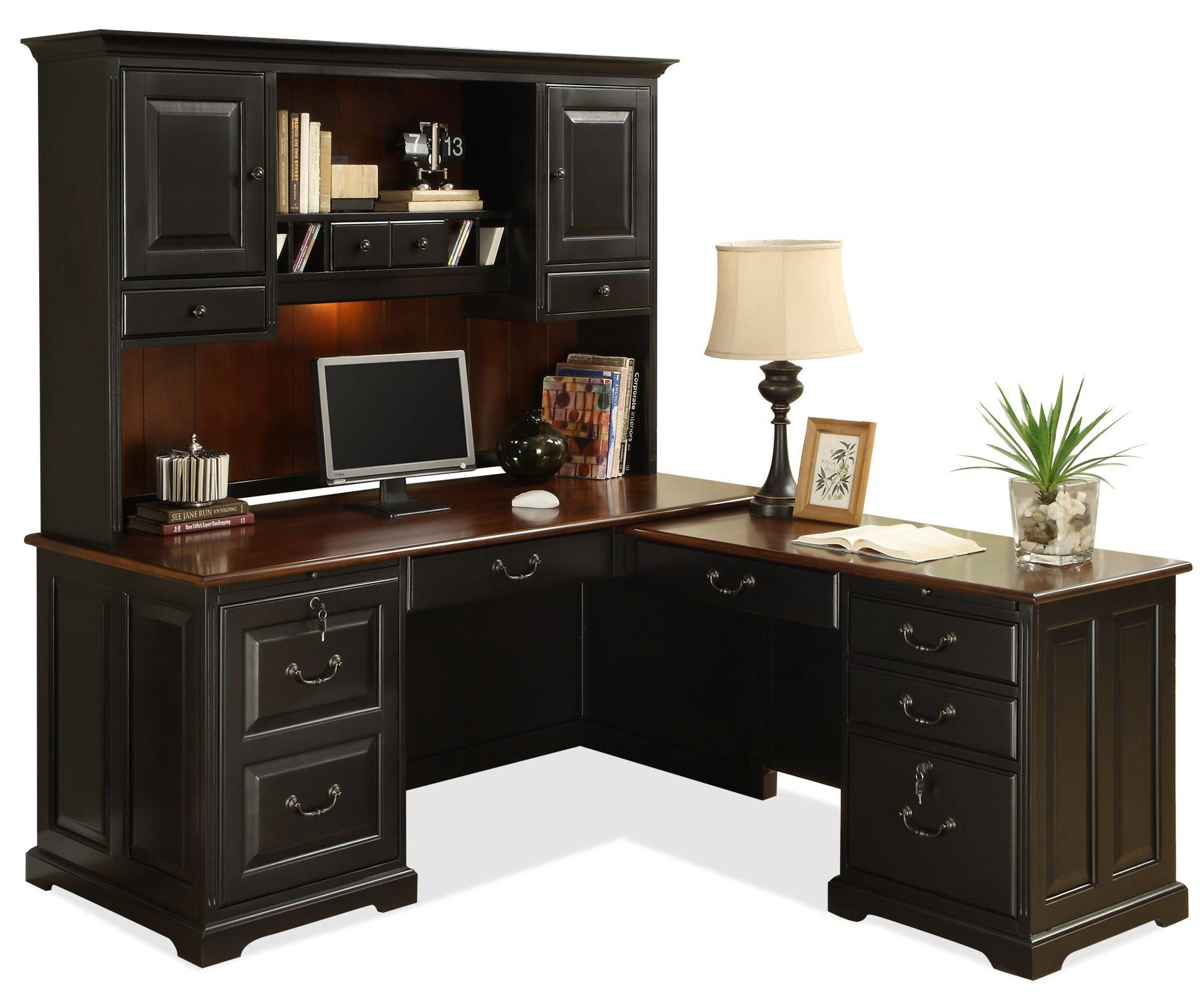 black l shaped desk with hutch plus storage plus computer set plus table standing lamp for home office furniture ideas