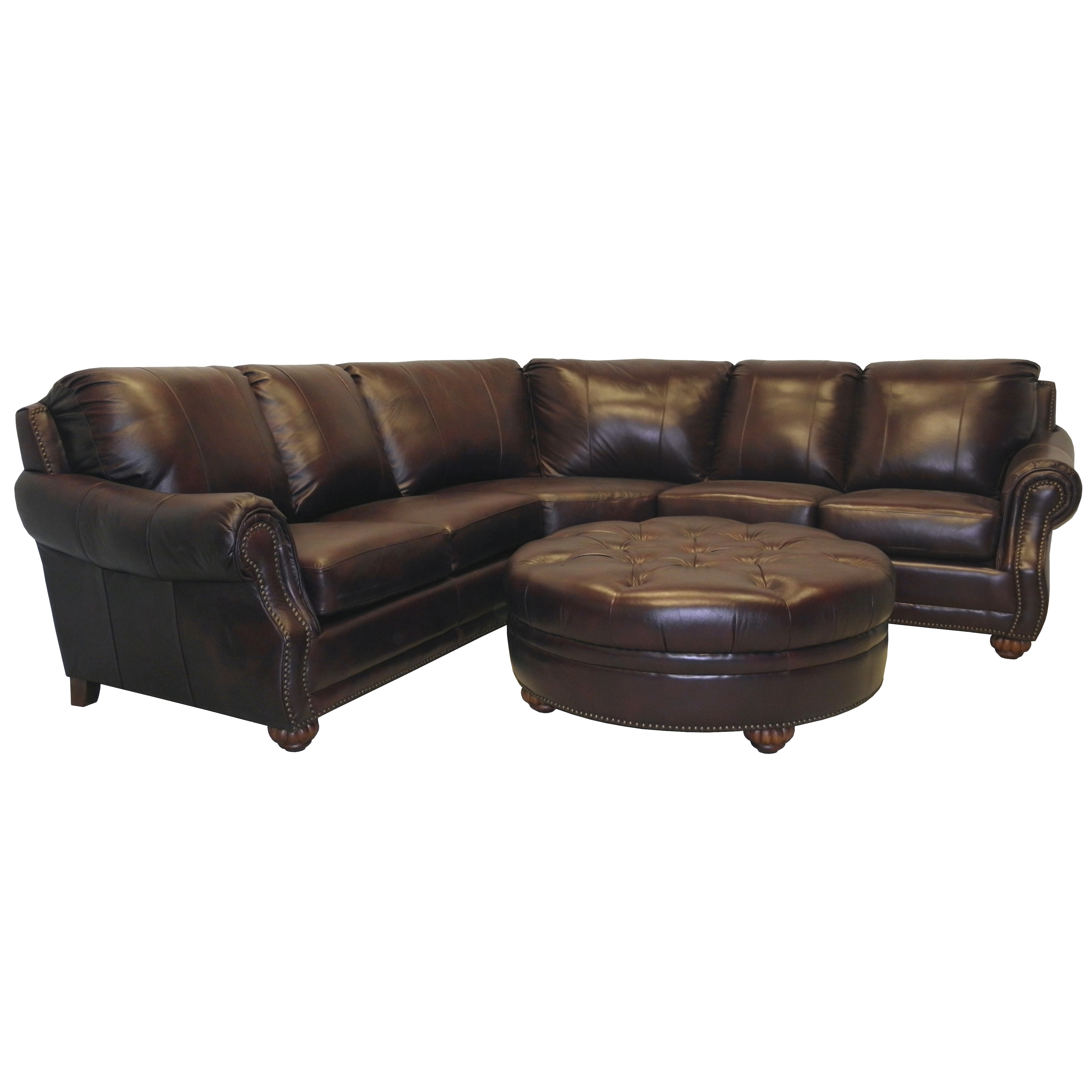 black leather Sectional Couches plus round leather stool for inspiring furniture ideas
