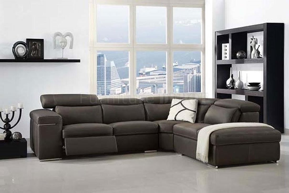 black leather Sectional Couches with cushions on wheat floor before the glass window for living room decor ideas