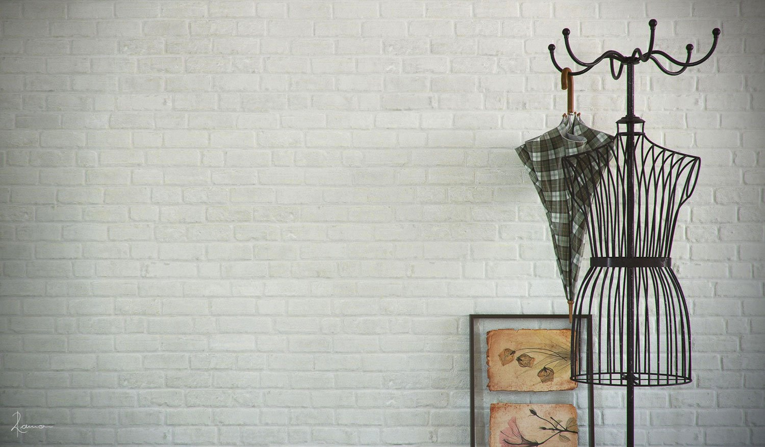 black Metal standing coat rack ideas with white wall