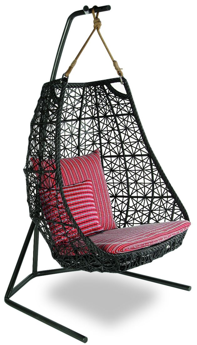 Black Rattan Swingasan Chair With Pink Stripped Cushion And Black Stand Ideas