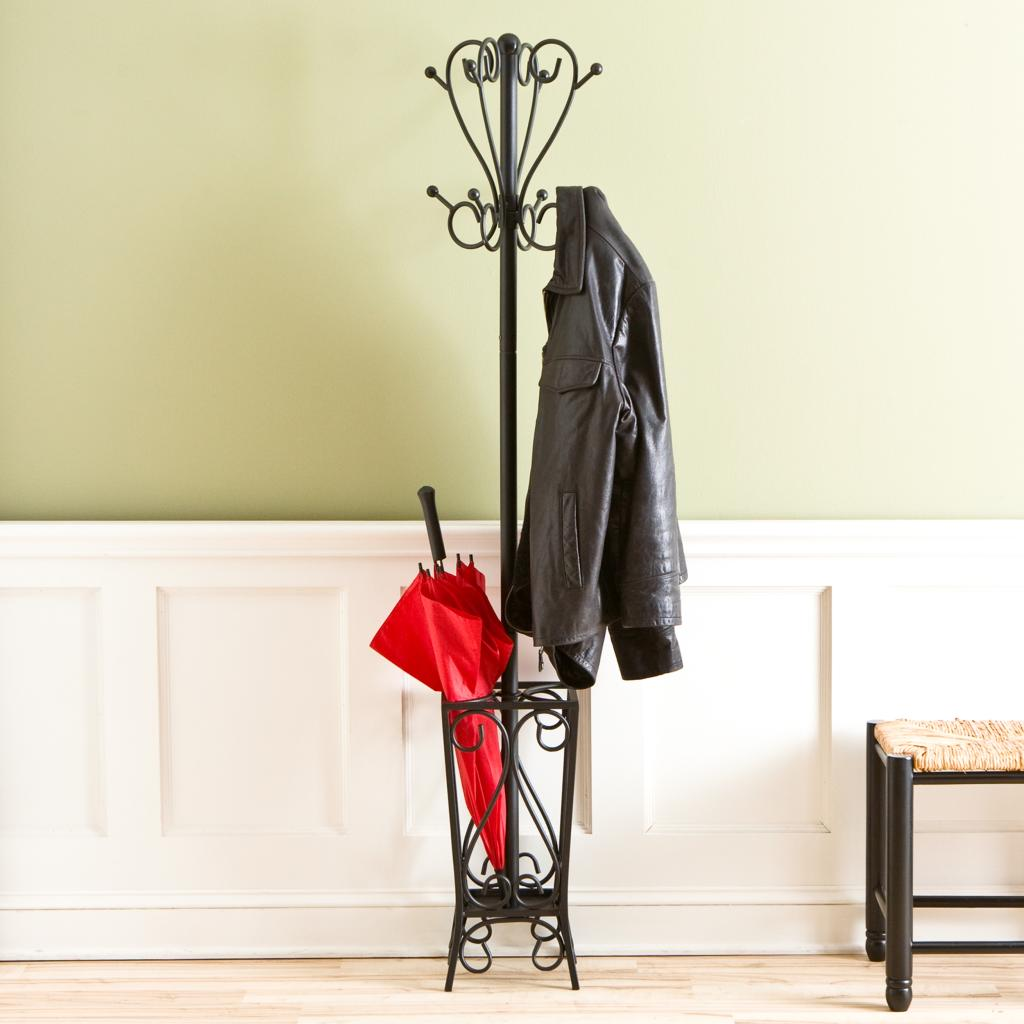 Black Scrolled Metal standing Coat Rack and Umbrella Stand