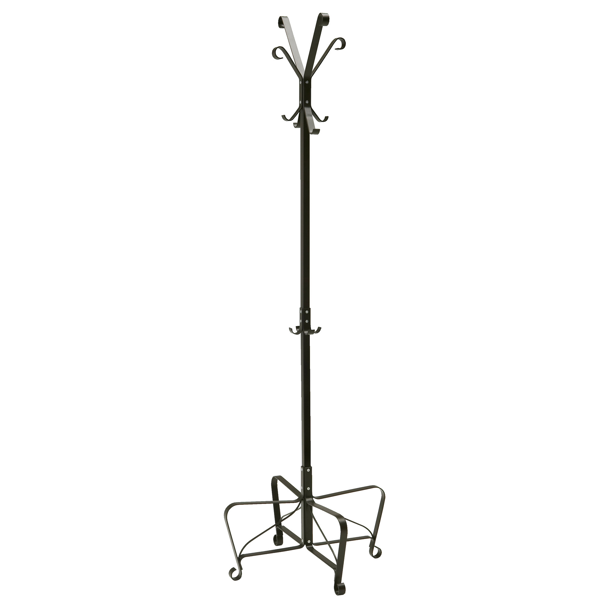 black standing coat rack with curved hooks