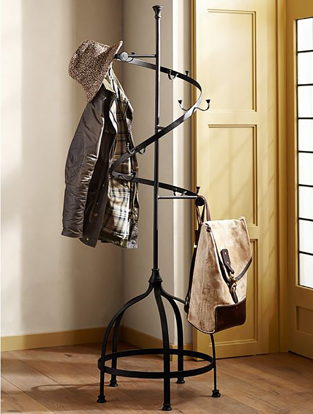 Black Standing Coat Rack With Twisted Design