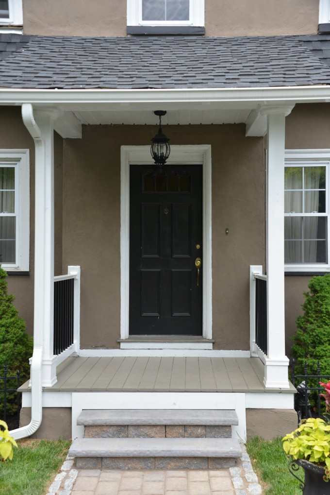 Black Therma Tru Entry Doors With Golden Handle Matched With Tan Wall Plus Chandlier Ideas