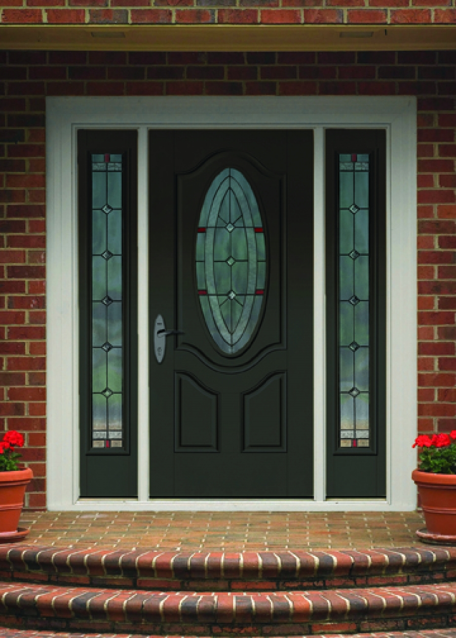 black therma tru entry doors with silver handle and oval tempered matched with brick wall ideas