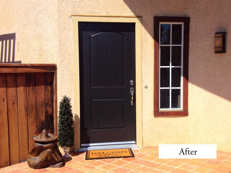 black therma tru entry doors with silver handle matched with white wall plus window for exterior design ideas