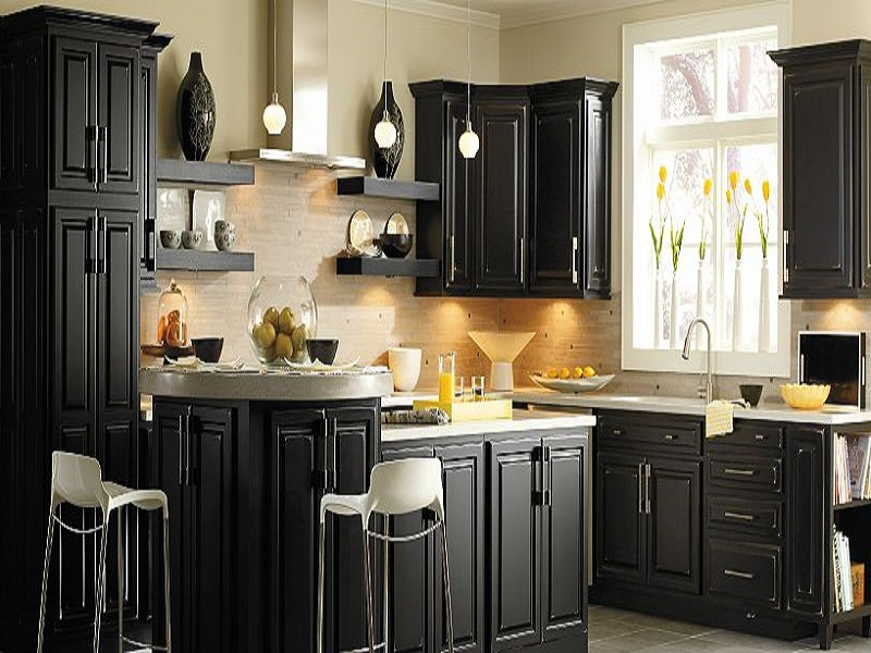 black Thomasville cabinets with silver handle and white countertop plus sink for kitchen furniture ideas