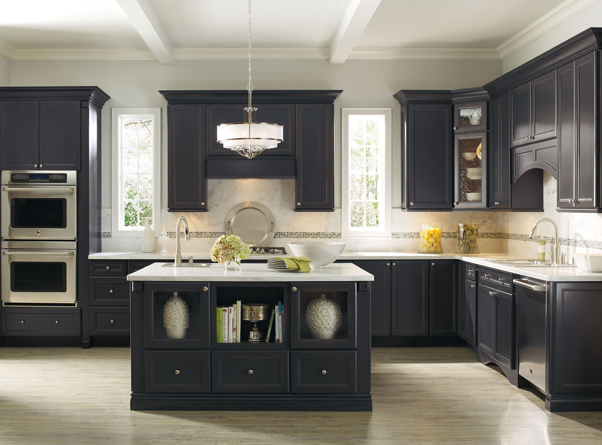 black Thomasville Cabinets with white countertop