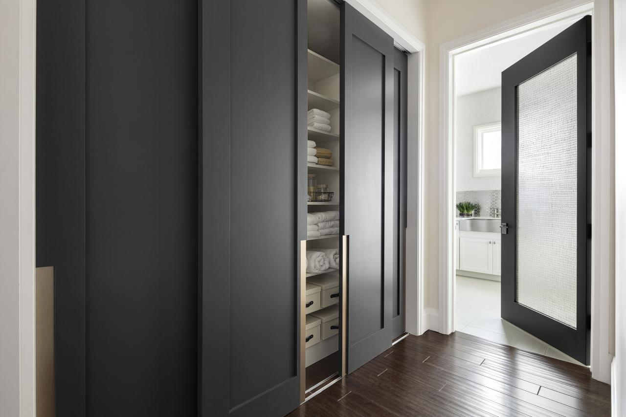 Black TruStile Doors With Wooden Floor Plus White Wall And Armoire With  Black Slider Door Ideas