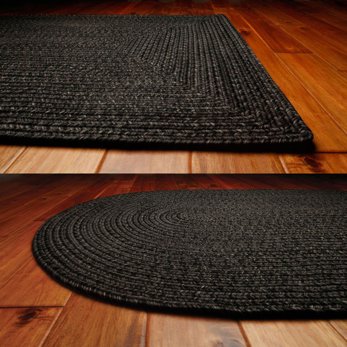Black Ultra Durable Braided Rugs in oval and rectangle option shapes for floor decor ideas