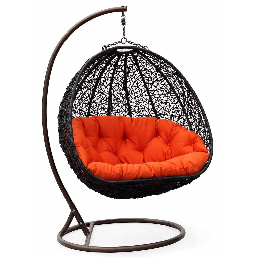 black Wicker Rattan swingasan chair with orange cushion ideas