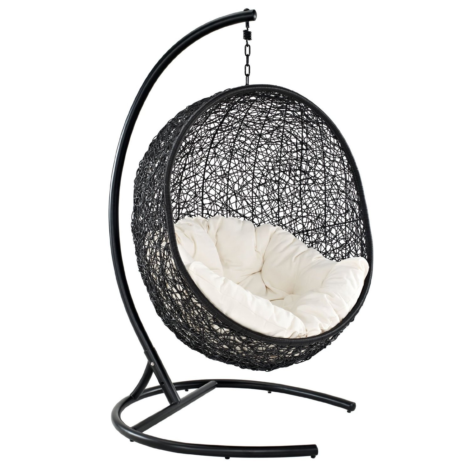 black Wicker Rattan swingasan chair with white cushion and black metal stand ideas