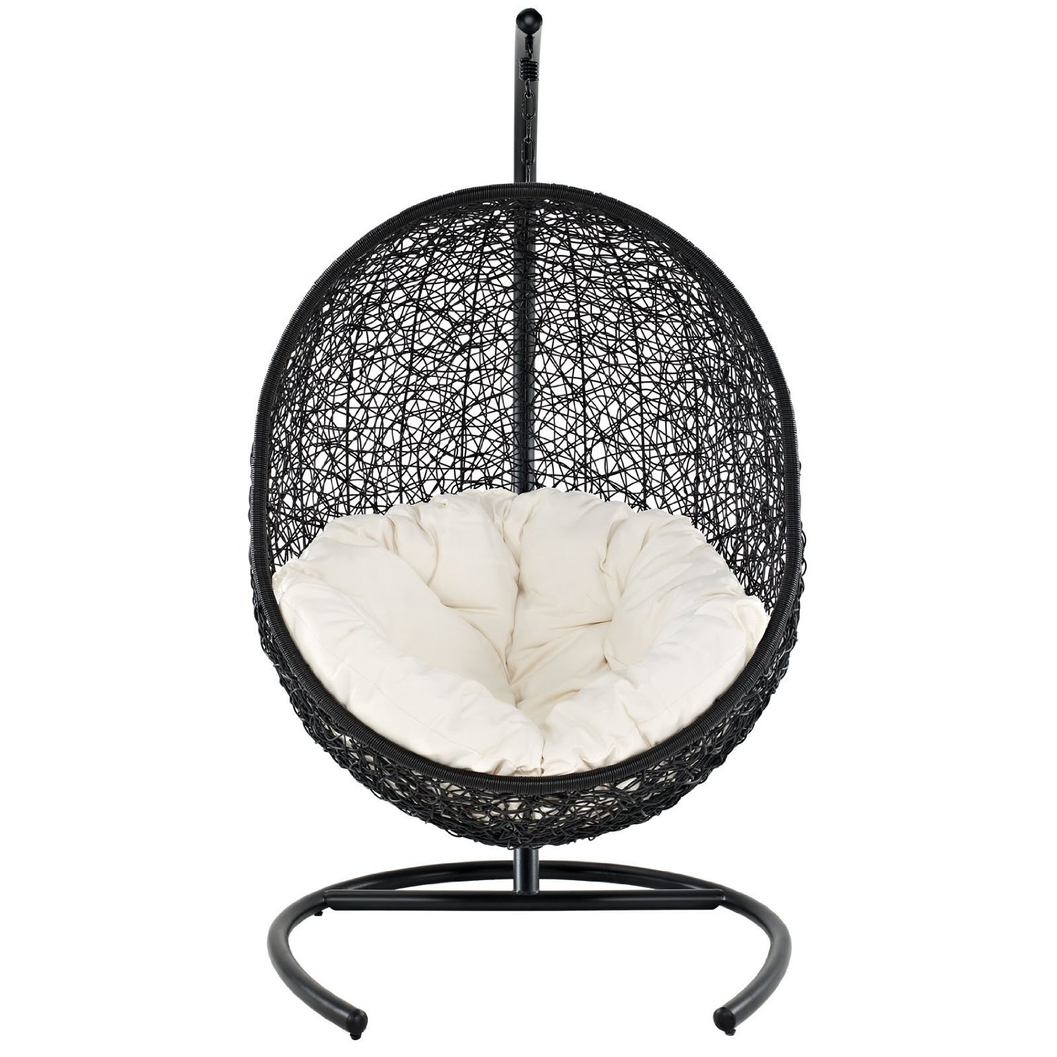 black Wicker Rattan swingasan chair with white cushion ideas