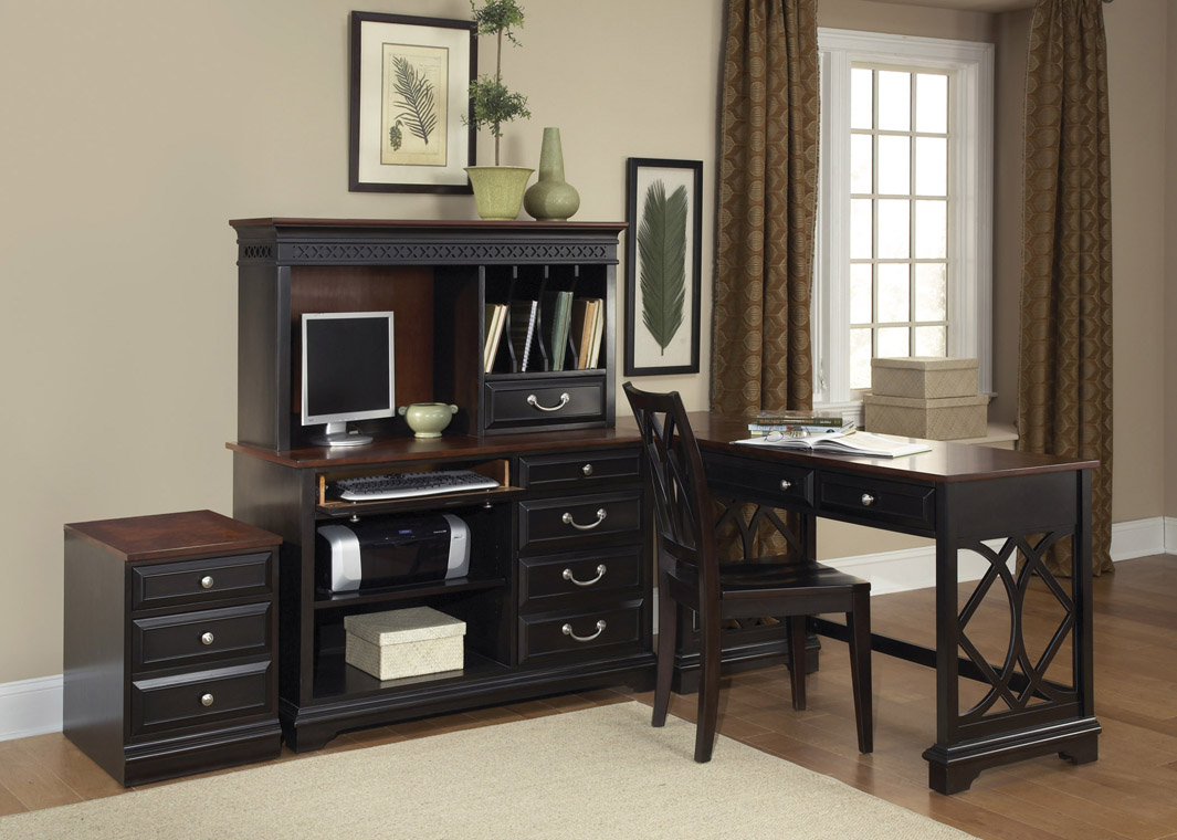 black wooden L Shaped Desk with hutch and drawer plus black chair and computer set for home office design ideas