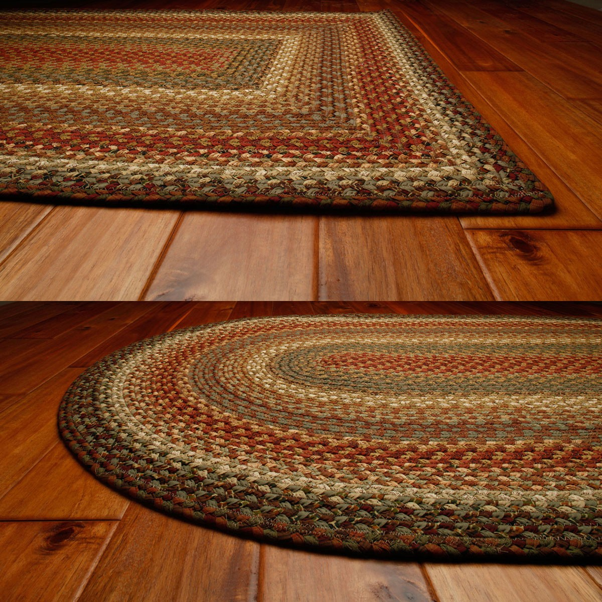 Brown And Orange braided Rugs in oval and rectangle shapes