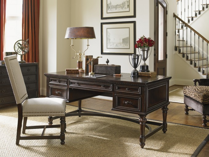 Brown Dresser By Sprintz Furniture Plus White Chair And Table Standing Lamp For Home Office Decor Ideas