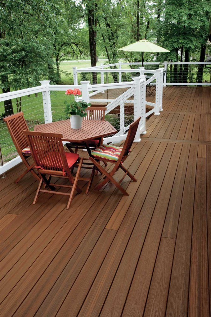 Brown Evergrain Decking Matched With White Railing Plus Chairs For Deck Ideas