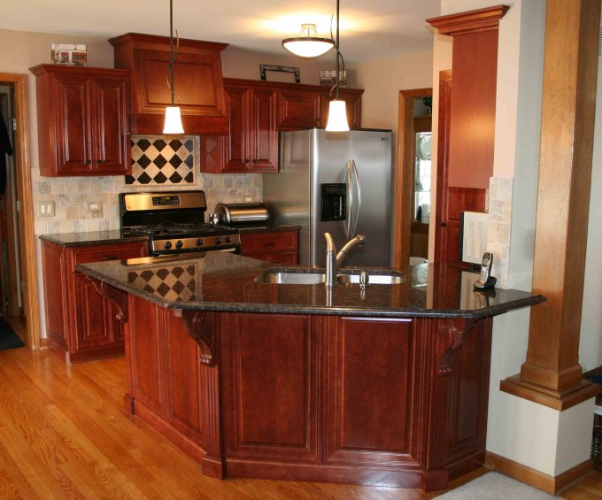 Brown Kitchen Cabinet Refacing With Black Countertop Plus Silver Frige And Black Oven For Kitchen Ideas With Chandelier And Wooden Floor