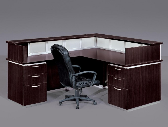 Brown L Shaped Desk With Hutch Plus Drawer With Silver Handle Plus Black Armchair For Smart Home Ofice Furnitures Ideas