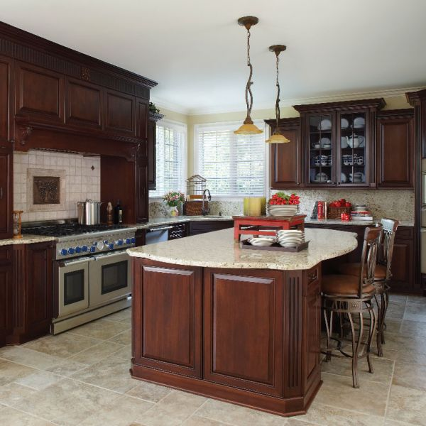 Brown Lafata Cabinets With Oven And Sink With Faucet Plus Chairs And Chandelier For Kitchen Decor Ideas