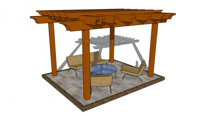 Brown Pergola Plans Ideas With Chairs And Table On Grey Floor