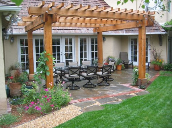 Brown Pergola Plans With Eight Props Ideas With Sofa Set And Cushions For Backyard Decor Inspiration