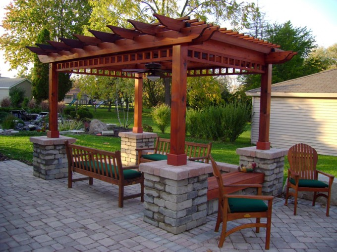 Brown Pergola Plans With Ideas With Brown And Green Chairs