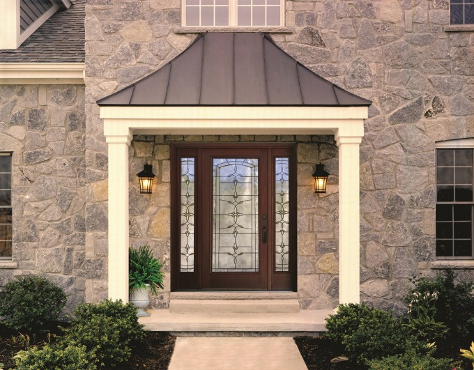 Brown Therma Tru Entry Doors Matched With Natural Stone Wall Plus Double Chandelier Ideas