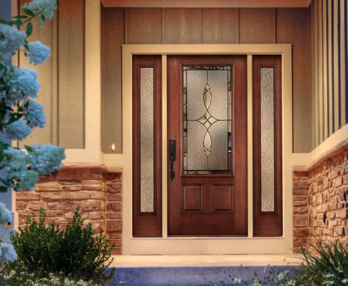 brown therma tru entry doors with black handleset handle matched with natural stone wainscoting ideas