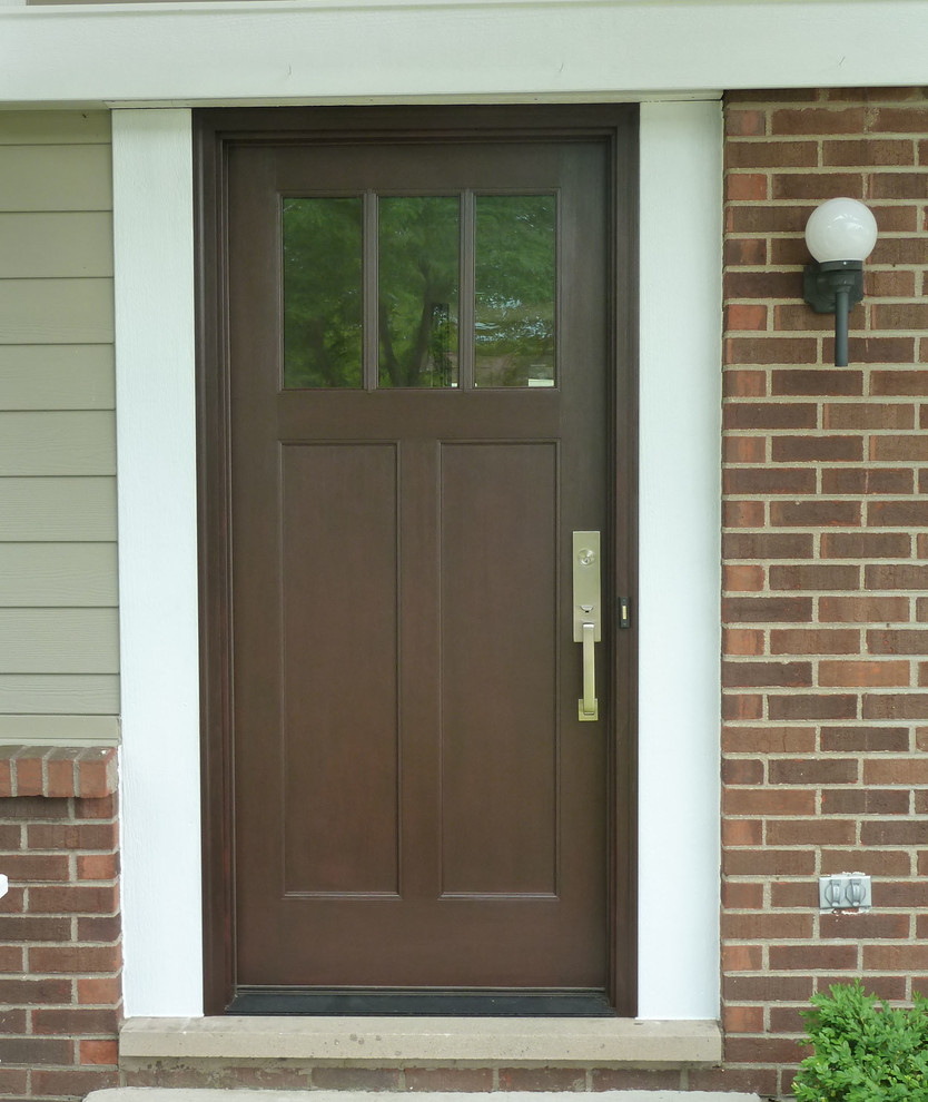 brown therma tru entry doors with handleset handle matched with brick wall plus lamp ideas