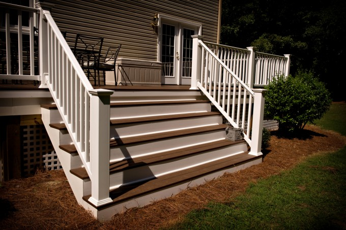Brown Wood Azek Decking Plus White Railing And Stairs For Deck Ideas