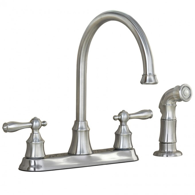 Brushed Nickel Lowes Kitchen Faucets With Double Handle And Sprayer Spiral