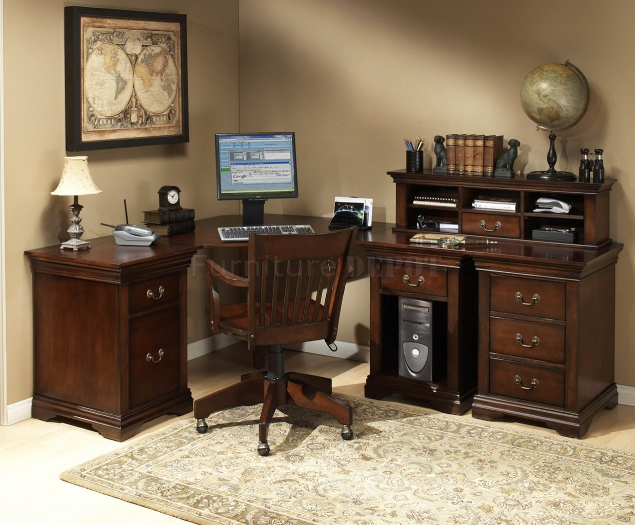 Burnish Cherry Finish L Shaped Desk with hutch and drawer plus computer set and wooden armchair on an office home room with tan wall and cream floor plus carpet