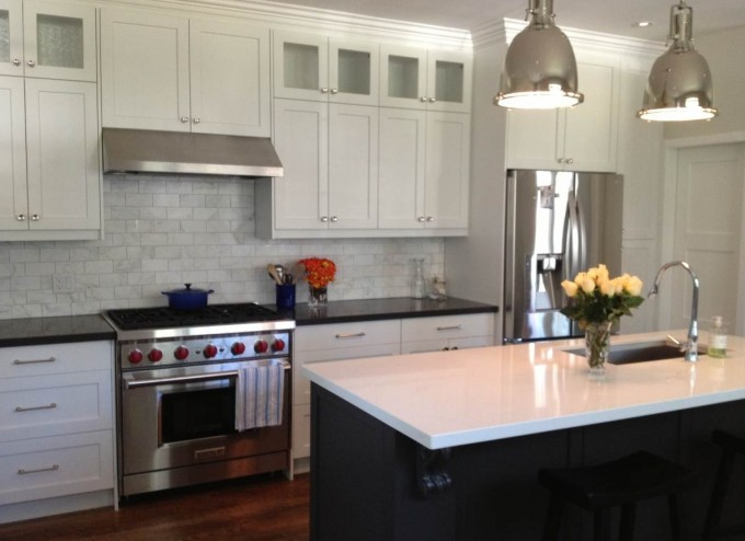 Caesarstone Countertop With Storage Plus Oven On Wooden Floor For Kitchen Decor Ideas